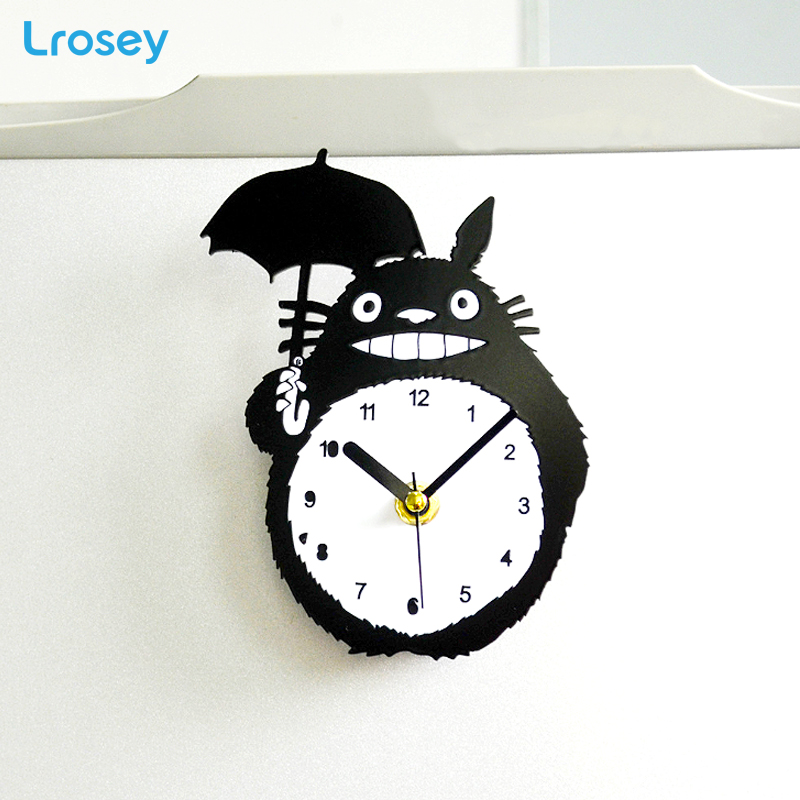 Cute Totoro Fridge Magnet magnetic wall clock Nordic home decoration accessories Children gift refrigerator clock message holder in Fridge Magnets from Home Garden