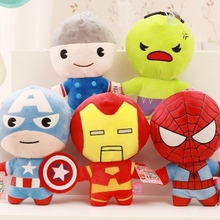 5 Pcs A Lot 20 Cm Super Hero Plush Toys Wall Stuff With Suctions Stuffed Iron Man Spider Thor Cartoon For Children