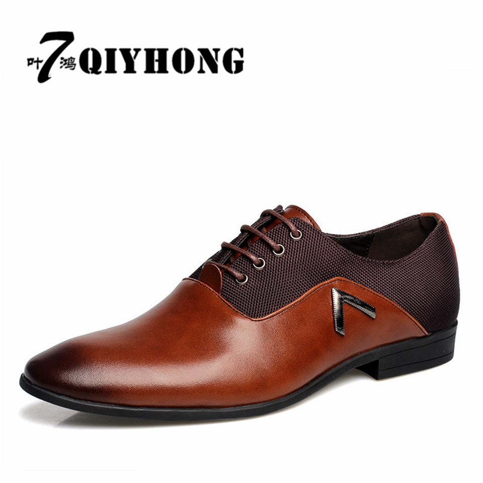 Brand Big Size 45-47 New Fashion Men Wedding Dress Shoes Black Shoes Round Toe Flat Business British Lace-up Mens Shoe