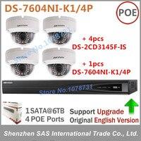 Hikvision DS-7604NI-K1/4 P Netwerk Video Recorder Play Voor H.265 + 4 stks Hikvision DS-2CD3145F-IS 4MP IP Camera Audio en Alarm