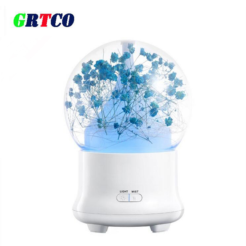 Preserved Fresh Flower Aroma Essential Oil Diffuser Ultrasonic Air Humidifier with 7Color LED Lights Electric AromaPreserved Fresh Flower Aroma Essential Oil Diffuser Ultrasonic Air Humidifier with 7Color LED Lights Electric Aroma