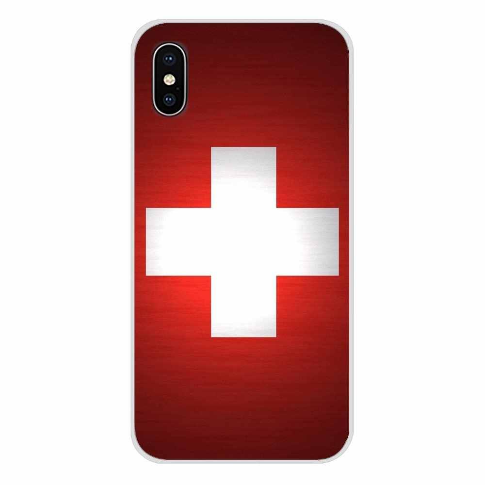 Para o iPhone Da Apple X XR XS MAX 4 4S 5 5S 5C SE 6 6 S 7 8 Plus ipod toque 5 6 TPU Case Bolsa Suíça Polônia Bandeira Nacional Paraguai