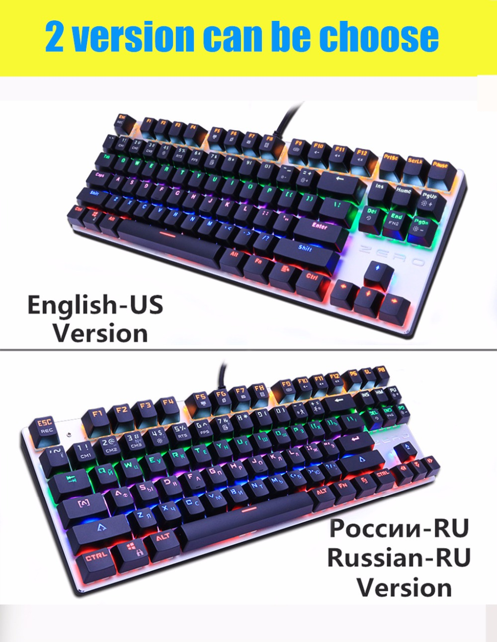 Mechanical Keyboard 87/104 Anti Ghosting Luminous Blue Black Red Switch LED  Backlit Wired USB Gaming Keyboard Russian Stickers Bluetooth Keyboards