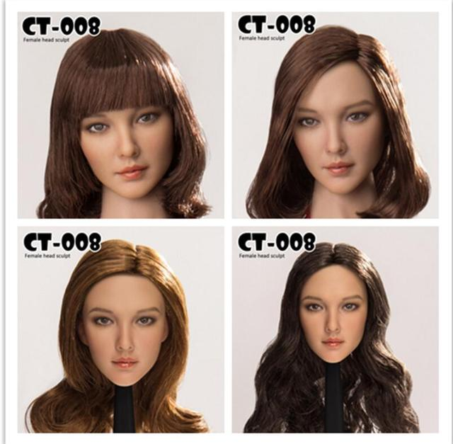 1 6 Cat Toys Asian Women Short And Long Hair Head Sculpt Ct008 B F
