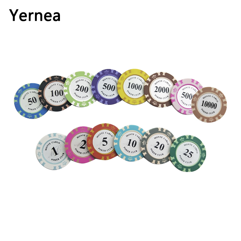 Yernea 25PCS/Lot 14g Clay Embedded Iron Texas Holdem Chip Poker Playing Card Chips Baccarat Coin 14 Colors