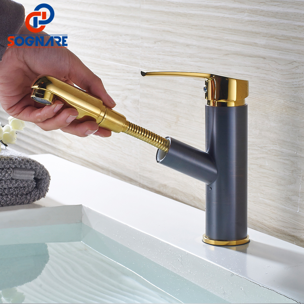SOGNARE Bathroom Basin Faucets Pull Out Gold/Black Bath Sink Crane Copper Sink Mixer Taps Hot and Cold Deck Mounted Wash Faucet brazilian virgin full lace human hair wigs for black women glueless full lace front human hair wigs with baby hair full bangs