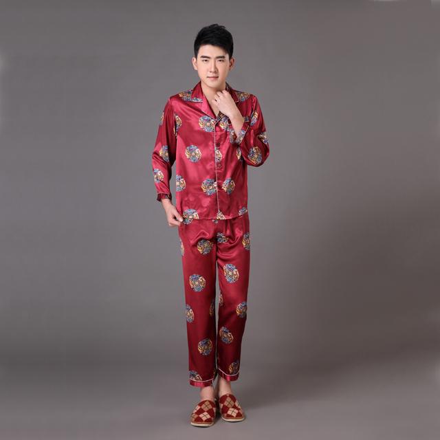 Vintage borgoña hombres de satén de seda pijama traje tradicional chino para hombre ropa de dormir camisón salón albornoz XXXL Oversize MP011