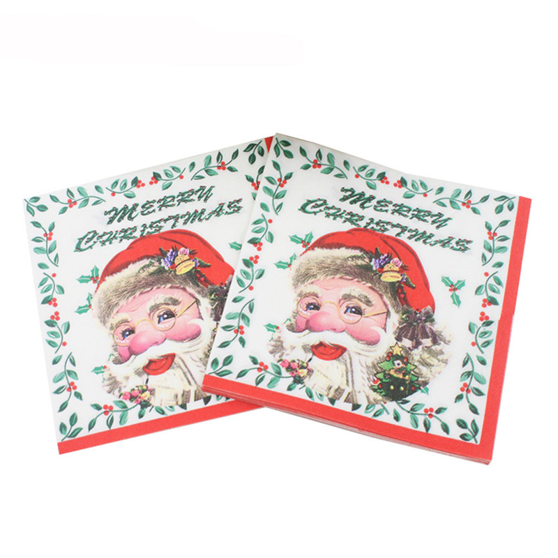 Printed Feature Paper Napkins for Christmas Party Santa Claus Decoration Tissue Decoupage Servilleta 33cm*33cm 20pcs/pack/lot