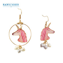 SANSUMMER Earings Fashion Jewelry Personalized Pink Unicorn Horse Head Pearl Asymmetric Earrings Trendy Cartoon Earring 6633