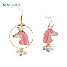 SANSUMMER Earings Fashion Jewelry Personalized Pink Unicorn Horse Head Pearl Asymmetric Earrings Trendy Cartoon Earring 6633 цены