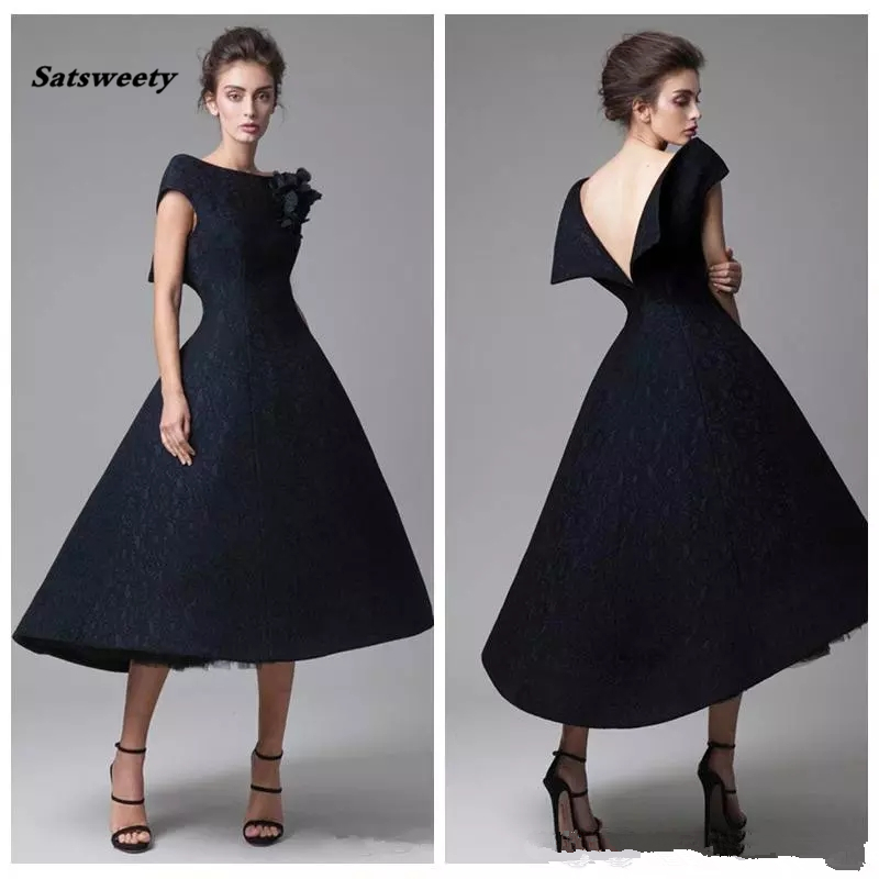 Perfect Black Short Lace Prom Dresses Handmade Flower Backless Tea Length Pageant Formal Prom Gowns Robe De Soiree