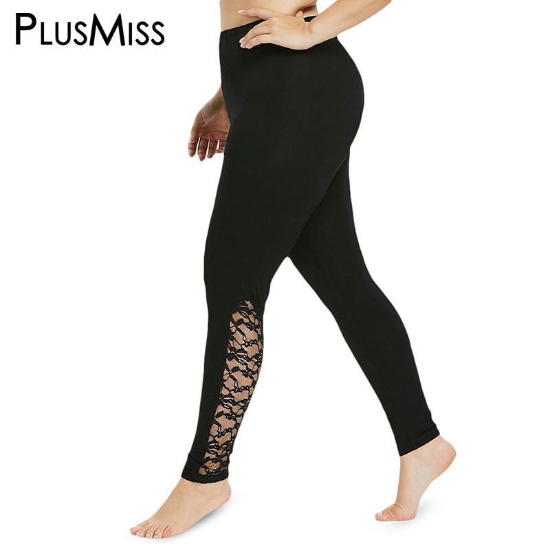 PlusMiss Plus Size 5XL 4XL High Waist Floral Side Lace   Leggings   Women Fitness Jeggings Workout Sexy Skinny Leggins Legins Big