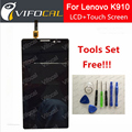 Para lenovo k910 lcd display + touch screen digitador assembléia painel para vibe z telefone celular + free tools set + free navio
