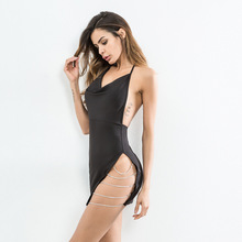 Alishebuy 2018 Spring Clothes Sexy Party Dress Hollow Out Package Buttocks Camisole Casual Dress Sexy Dresses