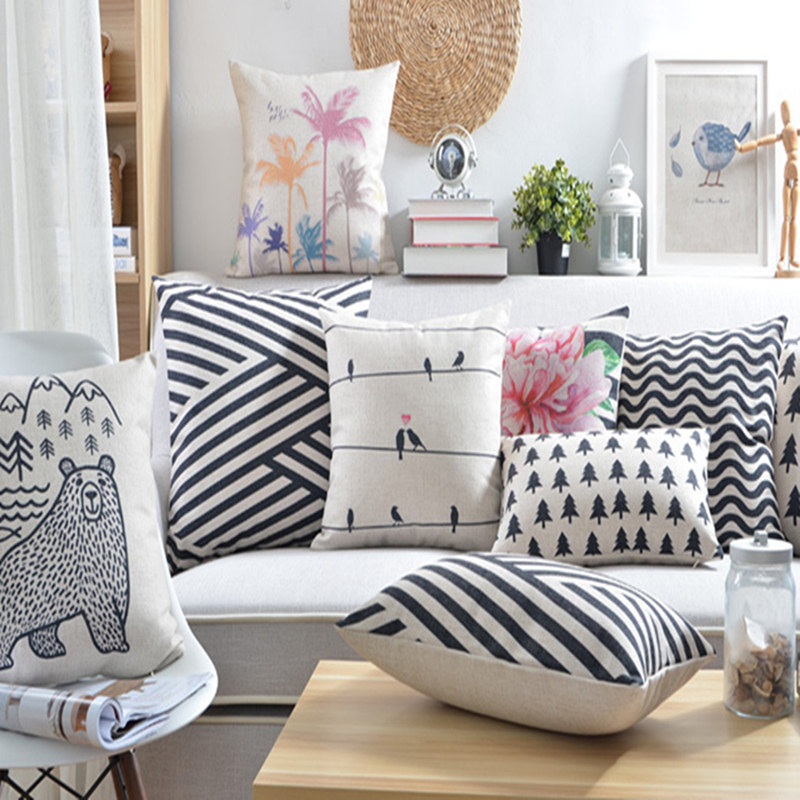 High Quality Black and White Geometric Wave Animal emoji pillow