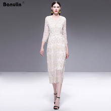 Banulin Runway Designer High Quality 2019 Summer New WomenS Fashion Party Work Sexy V-Neck Vintage Elegant Chic Lace Dress