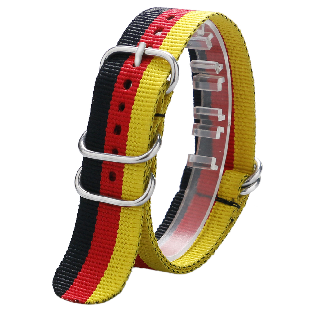 20/22MM Germany Flag Theme Wrist Watch Band Strap Fabric Nylon Canvas for Men Women Sport   Watches BD0127 adjustable wrist and forearm splint external fixed support wrist brace fixing orthosisfit for men and women
