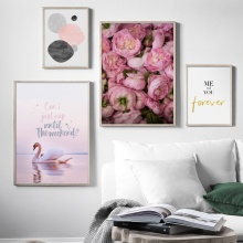 Rose Flower Pink Swan Sea Quote Landscape Wall Art Canvas Painting Nordic Posters And Prints Pictures For Living Room Decor