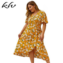 цены на Plus Size Women Holiday BOHO V Neck Button Down Daisy Floral Print Midi Dress в интернет-магазинах