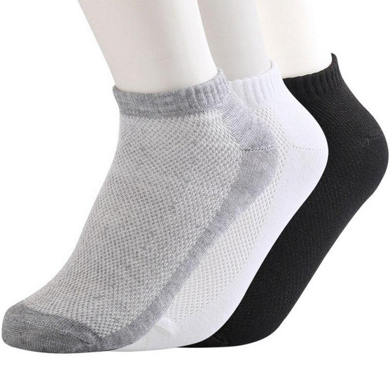 10pairs Eur38-43 spring summer breathable mesh ankle socks for men white thin socks male black boat socks s33
