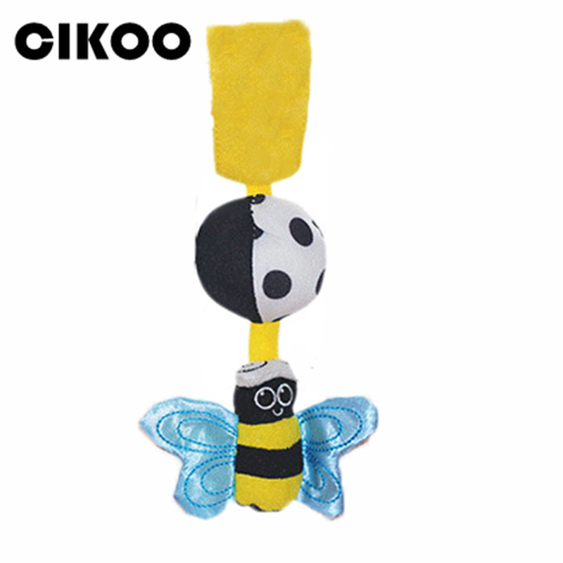 CIKOO HOT Sale Baby Rattles Hanging Bee With Sound Cute Animal Infant Baby Crib Stroller Toy 0-12 Months Plush Butterfly Bed