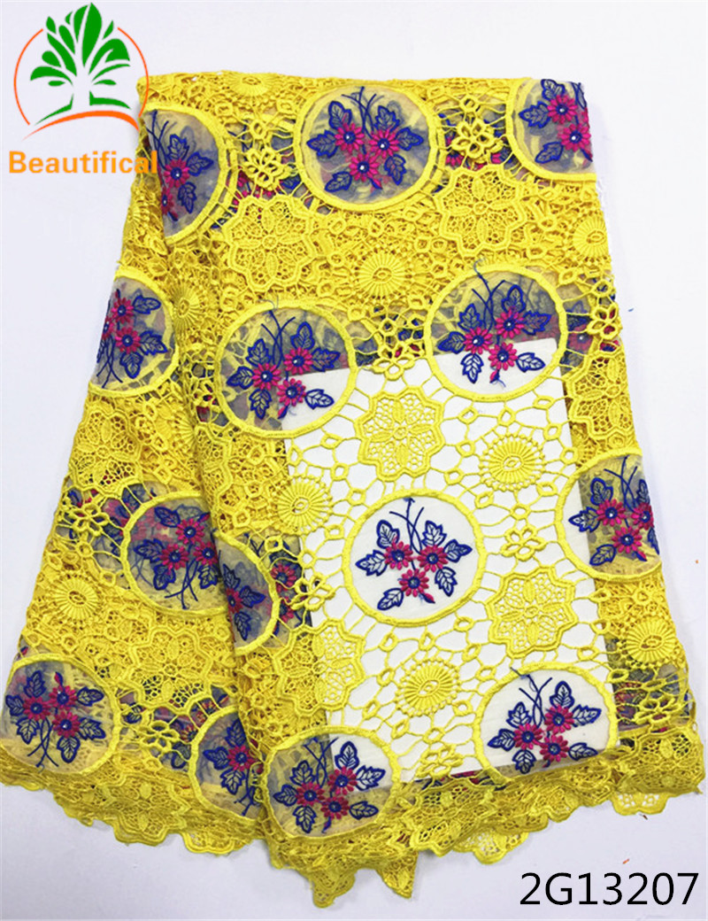 Beautifical african cord lace fabric guipure lace fabric chemical lace embroidery fabric latest design for wedding adress 2G132
