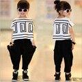 2016 New Girls Summer Sets Fashion Vetement Enfant Fille Casual Girl Clothes Set Cool Ropa Para Ninas Printing Girls Set