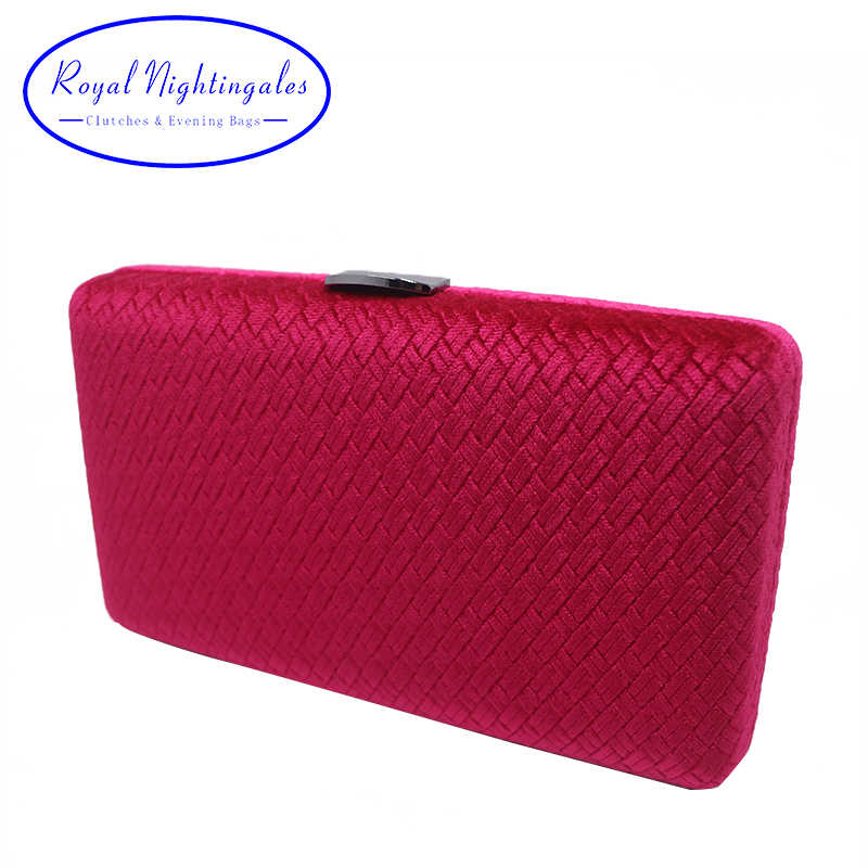 219a26f6db Royal Nightingales Weave Velvet Suede Hard Box Clutch Bags Evening Bags and  Handbags for Womens Red