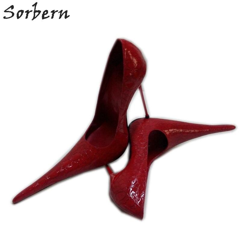 Sorbern Super Long Pointed Toe Women Pumps Slip On Snakeskin Red High Heels Steel Heels Size