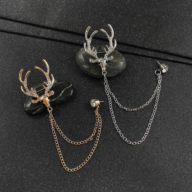 Alce Spilla Smalto testa di Cervo Corna di colore Oro argento Intarsiato zircone Catena di perno di vestiti delle donne degli uomini Dei Monili Di Natale regali