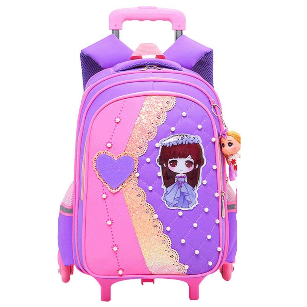 Waterproof Children Trolley School Bag Backpack Wheeled School Bag For Grils Kids Wheel Schoolbag Student Backpacks Bags Mochila