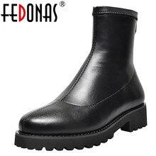 FEDONAS 秋冬マイクロファイバー革フロック女性足首スリップ靴下ブーツ暖かいショートブーツパーティーオフィスの靴の女性