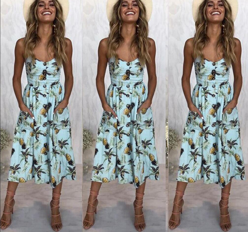 Casual Vintage Sundress Women Summer Dress 2019 Boho Sexy Dress Midi Button Backless Polka Dot Striped Floral Beach Dress Female 2