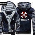 New Winter Warm Resident Evil 6 Hoodies Game Umbrella Hooded Coat Thick Zipper men casual cardigan Jacket Sweatshirt