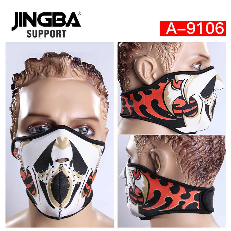 Jingba Dukungan Setengah Wajah Topeng Halloween Keren Masker Pria Luar Ruangan Olahraga Sepeda Ski Masker Naik Dropshipping Pabrik Grosir