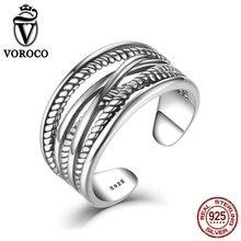 Voroco стерлингового серебра 925 Multi Твист Плетеный Регулируемый ремешок винтажные стильные оригинальные кольца женщины Fine Jewelry VSR005