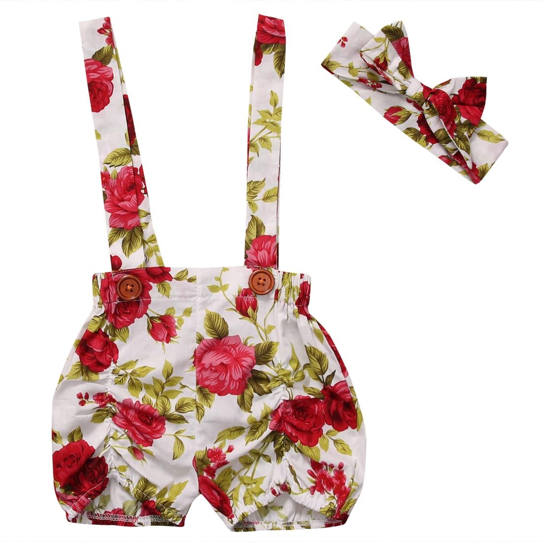 0,5-3y Floral Baby Kinder Mädchen Sommer Blume Lose Shorts Overalls Und Stirnband Outfits Set Kleidung