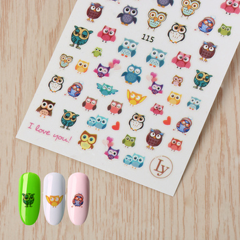1 Sheet 3D Cartoon Owl Flower Design Nail Art Water Stickers Decals DIY Manicure Decoration Tools DIY Nail Tips Stickers & Decals