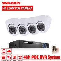 2018 Hot Sale Plug And Play 4CH NVR 48V POE CCTV Kit 1080P HD 48 IR