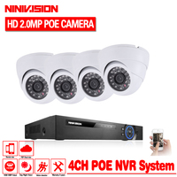 2018 Hot Sale Plug And Play 4CH NVR 48V POE CCTV Kit 1080P HD 48 IR
