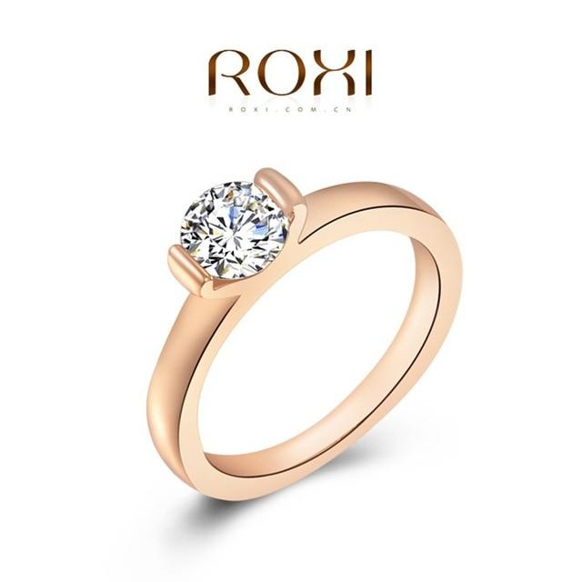 Roxi кольцо 2016 мода новый женский обручальное австрийский хрусталь 24 К розовое золото заполненные полный размер циркон кольцо свадьбы невеста ювелирных изделий