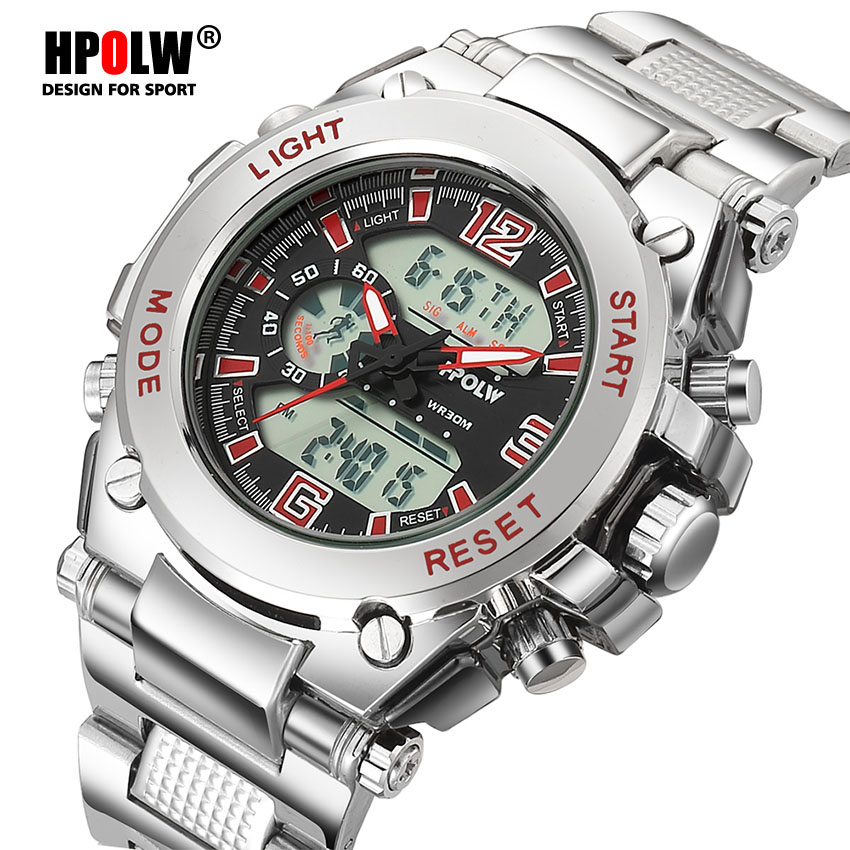 HPOLW Luxury Brand Men Sports Watches Military Army Digital LED Quartz Male Watch Wristwatch Relogio Reloj Clock Relojes s shock 2017 luxury brand men sports watches military army digital led quartz watch wristwatch relogio reloj skmei clock relojes