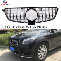 GT R Style Front Bumper Grill for Mercedes GLE Class W166 SUV 2016 present Silver / Black Grille Mesh