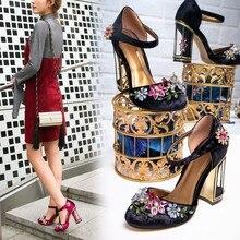 6aced6ed137 Design Perlen Blume Kristall Kleid Pumpen Birdcage High Heels Samt Seltsame  Stil Cut-out Starke Ferse Frauen Hochzeit Schuhe .