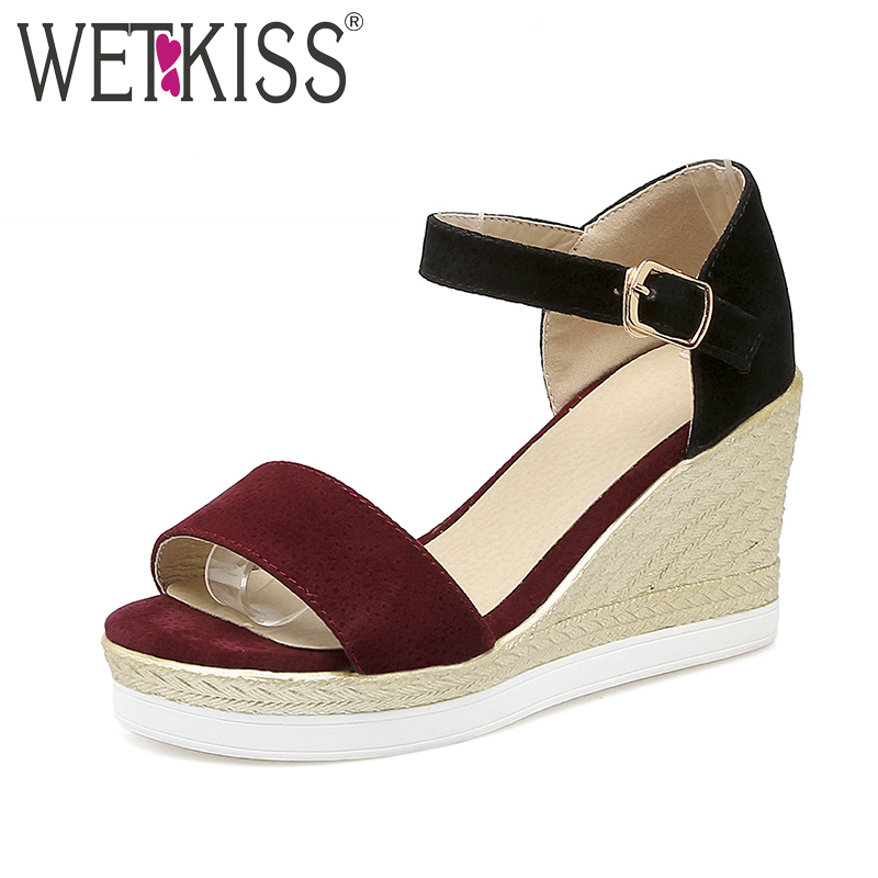 WETKISS Big Size 33 43 Fashion Wedges Women Sandals Mixed Colors Ankle Strap Summer Shoes Platform