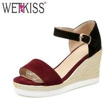 Wetkiss große größe 33-43 mode keile frauen sandalen mischfarben knöchelriemen plattform offene spitze sandalen casual