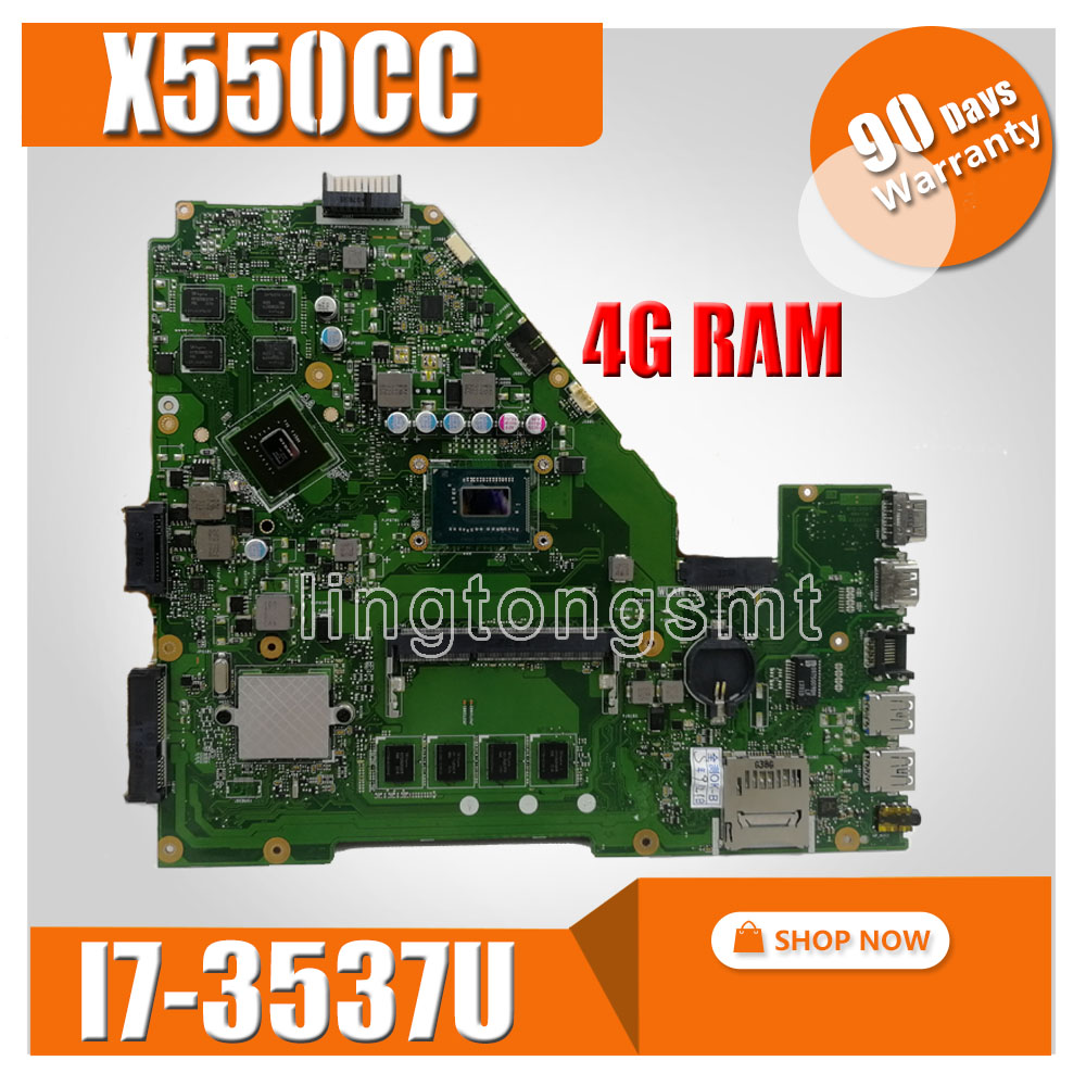 X550CC Laptop Motherboard For ASUS A550C X550CL X550CL X550C X552C R510C Mainboard GT720M 4GB RAM I7-3537U