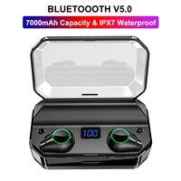 TWS T9 Binaural True Wireless Earbuds CVC8.0 HD Noise Cancelling Bluetooth 5.0 Headphone 7000mAh Touch Control Earphone 7h Play