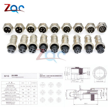 GX16 2/3/4/5/6/7/8/9/10 Pin Male & Female 16mm Wire Panel Circular Connector Lid Cap L70-78 Aviation Connector Socket Plug image