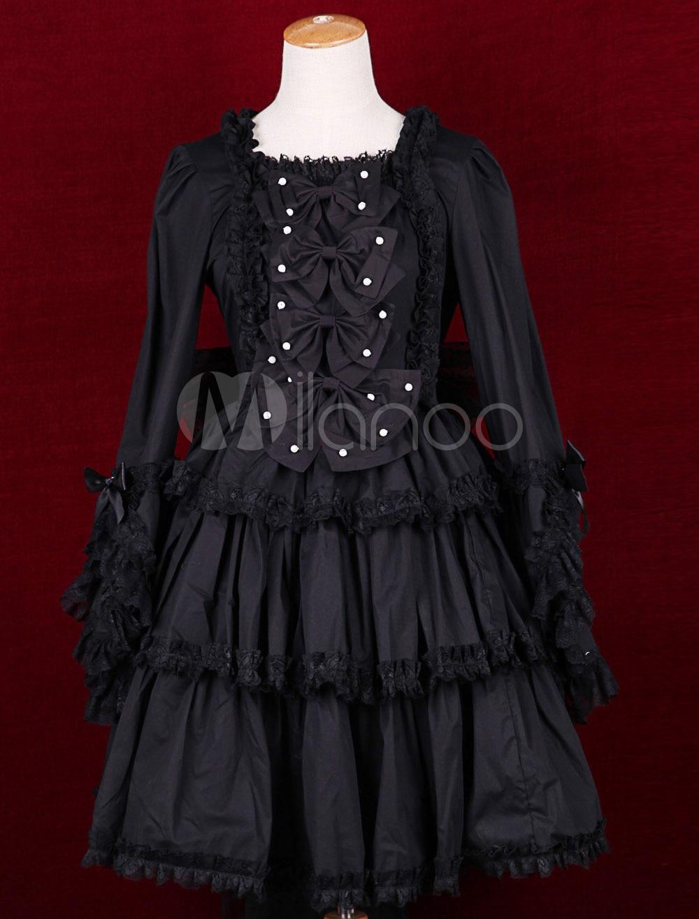 Robe Lolita douce à manches longues en coton noir